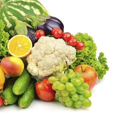 A collection of fruits and vegetables beside each other.